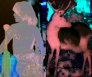 la dimora del cervo- fotomontaje, dibujo..1997